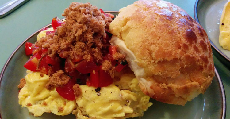 Eggs, pork floss and tomato pineapple bun sandwich