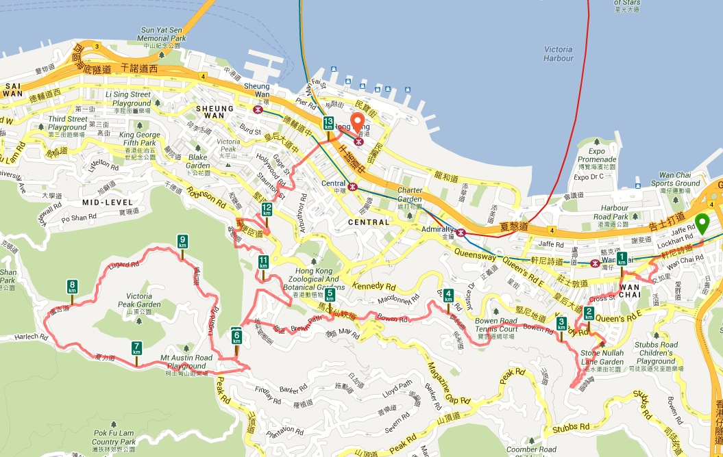 Causeway Bay to Central Ferry Via the Peak
