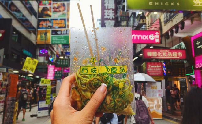 vegetarian food local hong kong noodles in a bag
