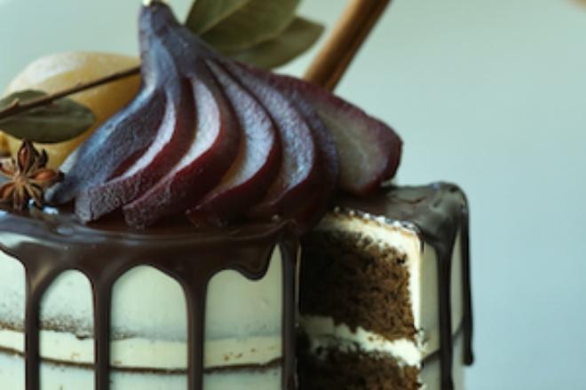 Mixing bowl hojicha pear cake