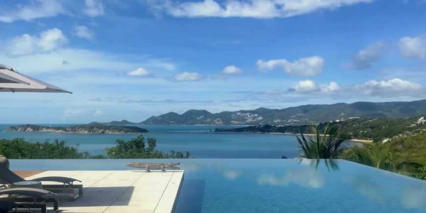 Infinity pool at Samujana Villa looking out at Koh Samui