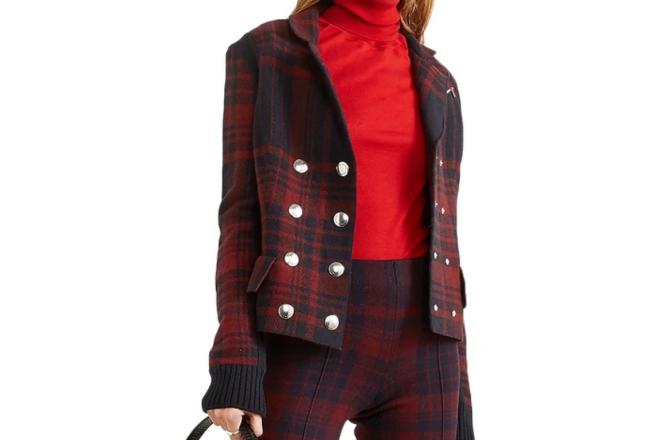 Sonia Rykiel Double-breasted checked wool-felt jacket