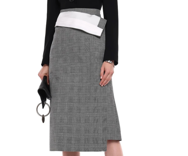 Pushbutton Fold-ver Prince of Wales checked wool midi skirt