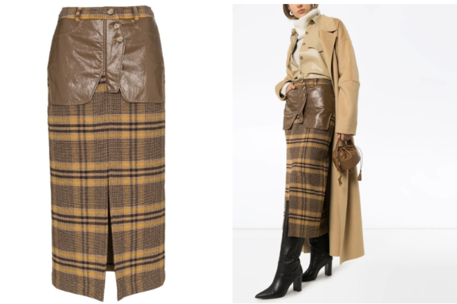 Rejina Pyo high-rise check midi pencil skirt