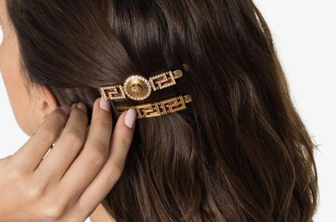 Versace crystal embellished medusa hairclip