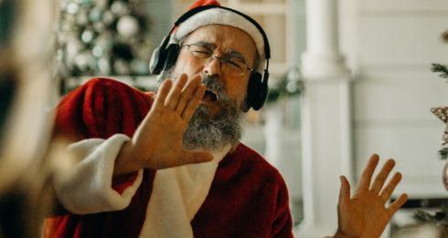 santa costume singing